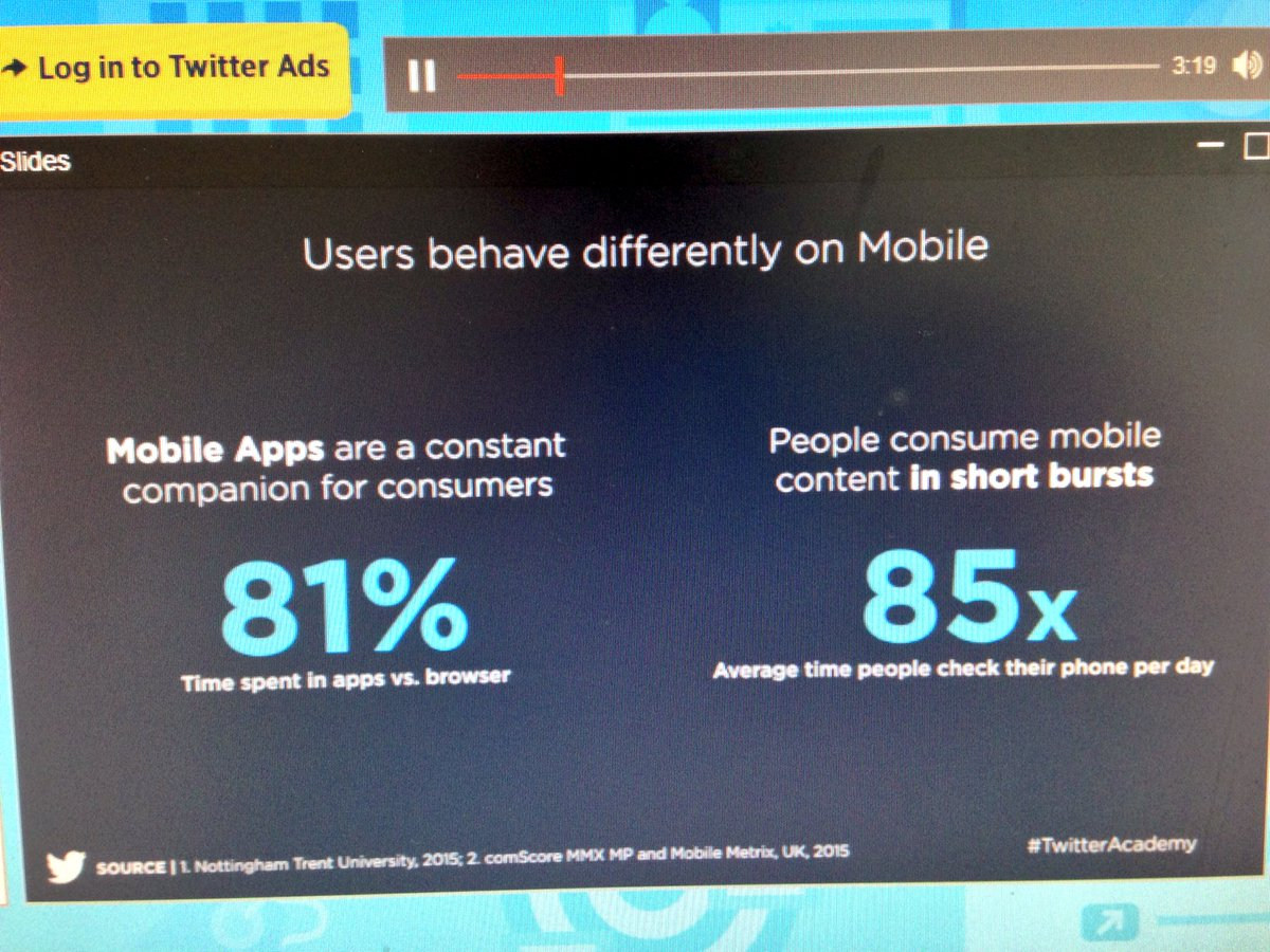 Interesting to hear how much time is spent in app rather than browser on mobile #TwitterAcademy https://t.co/ODaZYyWoeZ
