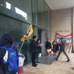 PCS Union members outside the BIS office in #Sheffield, waiting to hear if theyve got jobs or not. https://t.co/zw3I6OsoEk