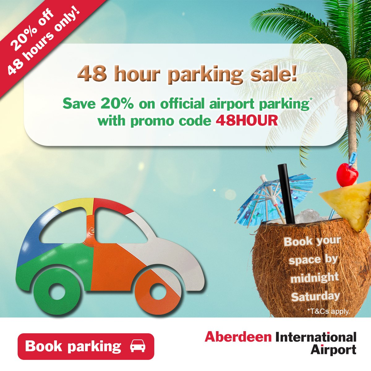 48 hour parking sale! Get 20% off with promo code 48HOUR when you book by midnight Saturday!