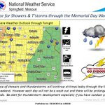 Chance of storms at times thru Memorial Day wknd. A few strong/severe storms possible later today. #mowx #kswx https://t.co/DqmCN49gQu