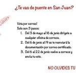 Te vas de puente en san Juan? No te olvides de votar!!! Fácil, sencillo y para mayores de edad 😜 💌 #GenteDelSi #26j https://t.co/SpG1Di2oAT