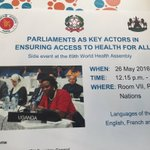 Join us in Salle 7 for the 1st event @IPUparliament side event at #WHA69! Ensuring health 4 all #EWECisME https://t.co/lOONMcxzgJ