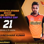 A top bowling performance by @BhuviOfficial gets him the Purple Cap. Keep it up! #SRH #OrangeArmy https://t.co/MFwODiZQ89
