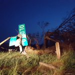 Trees cut in half and street sign mangled from tornado damage on Old Us 40 in Chapman, KS https://t.co/u1Fit6wl9J