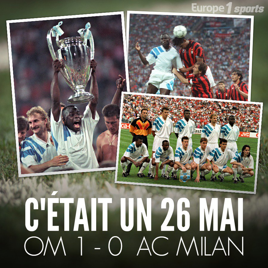 #Football C'était un 26 mai: en 1993, l'@OM_Officiel remportait la Ligue des champions contre l'@acmilan (1-0) 🏆 💪 https://t.co/GRpf3ghp1N