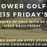 £15 Fridays at The Gower Golf Club. Start your weekend early! https://t.co/jfQegLiTOP