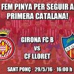 Des del @GironaFC B ens han demanat el nostre suport vs Lloret per guanyar i mantenir la categoria. Fem-los costat! https://t.co/4e6ZZuXmfo
