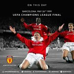 """On this day 1999, """"and Solskjaer has won it!"""" What a season for @manutd treble! #mufc https://t.co/QN3IBHou44"""