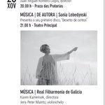 Esta tarde temos tres propostas musicais: @rfgalicia , @BandadeSantiago e Sonia Lebedynski https://t.co/Q2ffpZnmap https://t.co/S9oCh83972