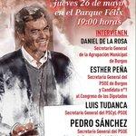 Música, pinchos, bebida, buen ambiente...¡y Pedro Sánchez! Esta tarde a las 19h en el Parque Félix #UnSiParaElCambio https://t.co/1R2QsFeCEI