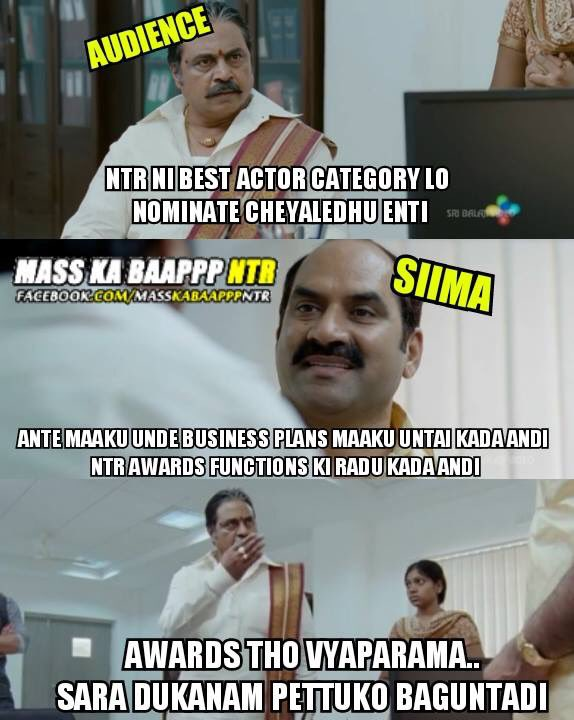 Tarak ni nominate kuda cheyyaledu..true case..most of the award functions r business deals..#SIIMA2016 #Zerovalue https://t.co/UQhvyAqw9s
