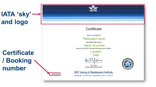 Need to check authenticity of a training certificate awarded by IATA? See how: