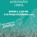 1er acte conjunt del jovent Unides Podem Més. Dijous que ve a les 19h! Acte polític + música! Construïm el canvi! 😀 https://t.co/4IzHj9P28q