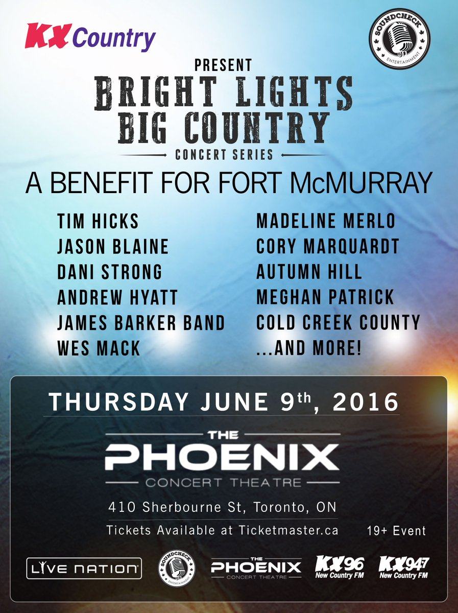#JUSTANNOUNCED Bright Lights Big Country: A Benefit for Fort McMurray June 9! Tickets ---> https://t.co/HF4v9U0BJL https://t.co/0ToTDY1A4A