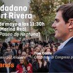 No te pierdas este domingo a @Albert_Rivera en Valencia ¡Te esperamos! https://t.co/hBdQYuWmeW