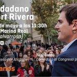 ¡No te lo pierdas! Este domingo te esperamos con @Albert_Rivera, @martamartirio y @Tonicanto1 en #Valencia https://t.co/BBztd0J4v7