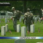 """Soldiers place U.S. flags at Arlington National Cemetery as part of a Memorial Day tradition called """"Flags In."""" https://t.co/mCNP4PM4Rz"""
