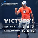 Sophomore @Vuki_SMASH23 secures spot in @NCAATennis Round of 16 and All-American status!! #ILLINI #NCAATennis https://t.co/NGGai7xcoS