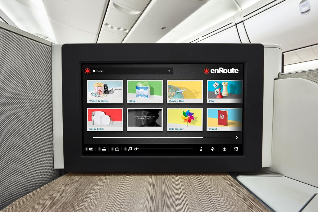 "Watch, browse, shop, or order in, all from your 18"" seatback screen in Intl."