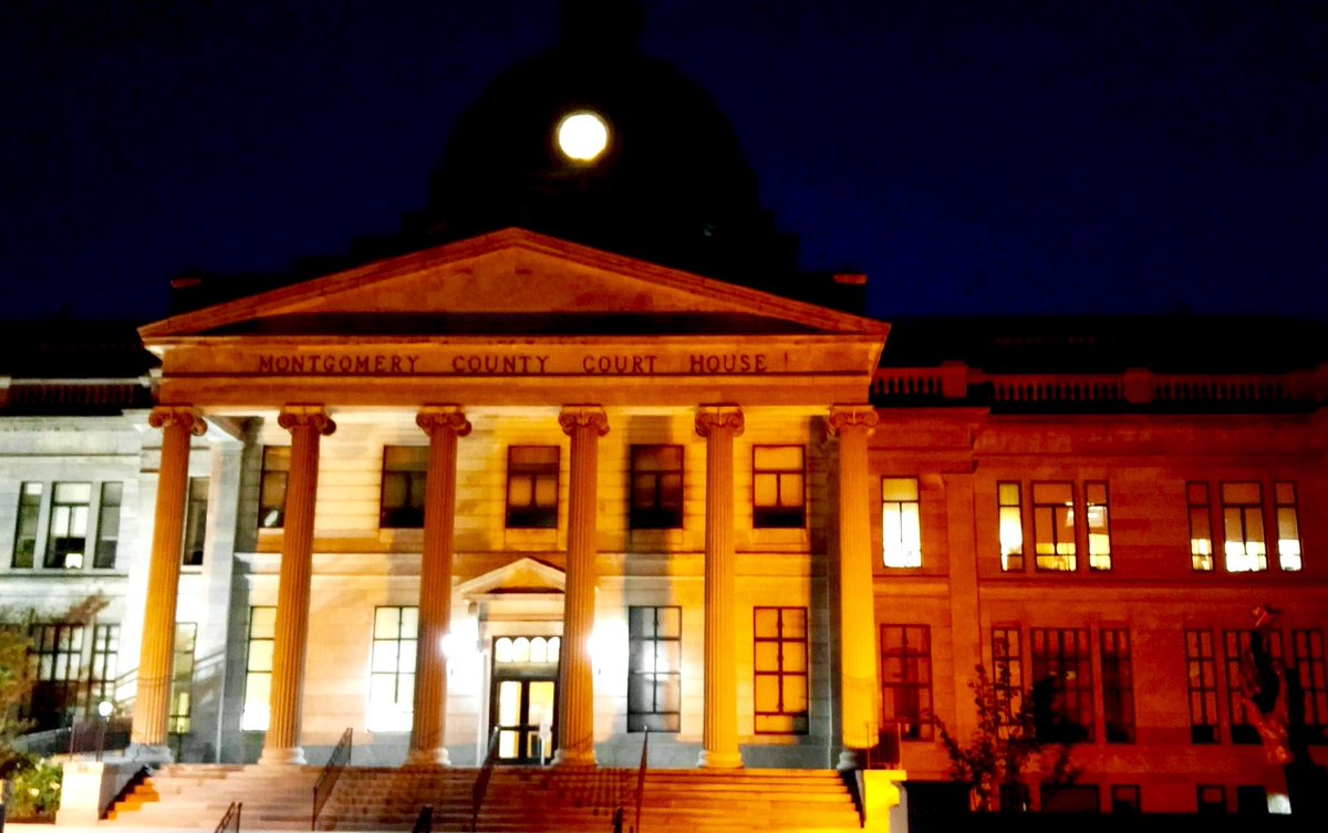 The #MontcoPa Court House illuminated orange tonight for #NationalGunViolenceAwarenessDay #WearOrange https://t.co/DCNjyFnk5b