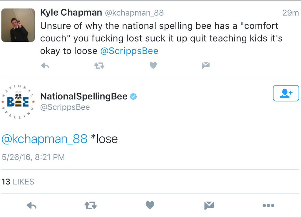 You guys @ScrippsBee doesn't  mess around. https://t.co/uW6Hszu4Gj