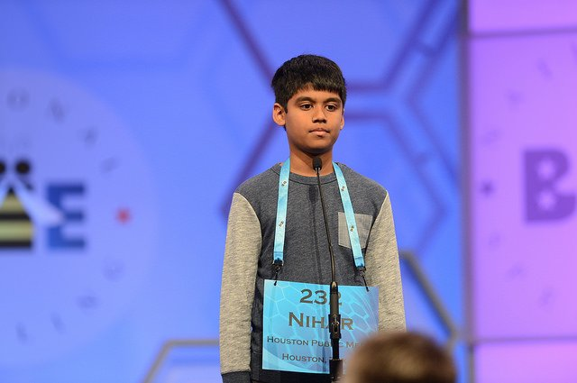 Youngest #SpellingBee Finalist tonight #Speller232 Nihar Janga is 11 &sails through taking page from hero @DezBryant https://t.co/ErEChdyvaw