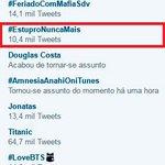 Em 3º lugar nos TTs: #EstuproNUNCAmais Participe do tuittaço! #MachistasNãoPassarão https://t.co/NdfUtU9sA5