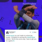 Nihar Janga threw up the X after tying for the Spelling Bee Championship and @DezBryant loved it. https://t.co/aWjMk2jgYk