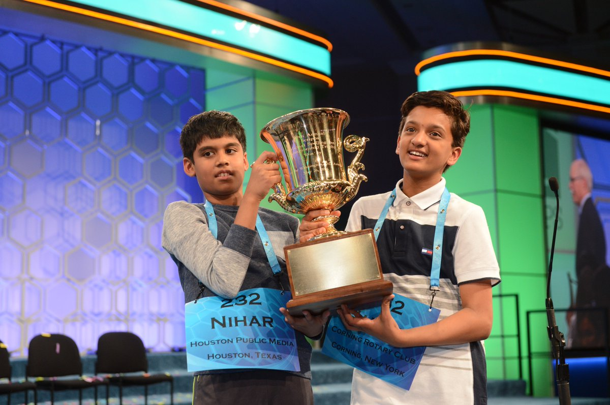 Presenting #SpellingBee co-champs: Jairam Hathwar 2nd sibling champ EVER & Nihar Janga 1 of the youngest champs EVER https://t.co/qUuzDuGyjy