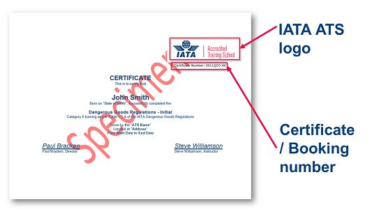 Need to know if a certificate was issued by an IATA Accredited Training School (ATS)?