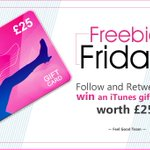#FreebieFriday Follow and RT to #Win an iTunes gift card worth £25 End 23:59 27/05 https://t.co/6KxU7p3woq #FeelGood https://t.co/heWtTqRdgn