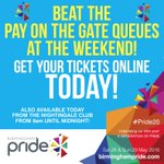 BEAT THE PAY ON-THE-GATE QUEUES AT THE WEEKEND! ???? Get tickets online TODAY from https://t.co/RcVIvpmQ7j #Pride20 ???? https://t.co/7bUVOCXQ64