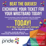 TODAY! From 9am until midnight YOU can exchange your ticket for your WRISTBAND at @Nightingaleclub (+ BUY!) #Pride20 https://t.co/vL5rgOIWDo
