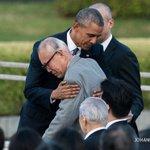 U.S. President Barack Obama hugs Mori Shigeaki, a survivor of the 1945 atomic bombing of Hiroshima https://t.co/f7jejiuIG4