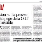 Retour de bâton de la censure de la Filpac-CGT,leur chantage est dénoncé dans toute la presse #Boomerang #LoiTravail https://t.co/CyCHpXAkSC