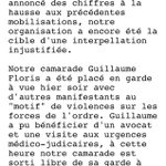 Un extrait du communiqué de lUd CGT sur larrestation de Guillaume https://t.co/b4PNsIB9yv