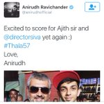 Real Theri Combo is back Now it is official @anirudhofficial is joining with #Thala #Ajith and Siva for #Thala57 https://t.co/FsdFttntEC