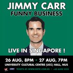 .@jimmycarr has added a 2nd Show in #Singapore on August 26, 8pm! Tickets from https://t.co/LOB3pkH1lK https://t.co/82UVXzg7Ye