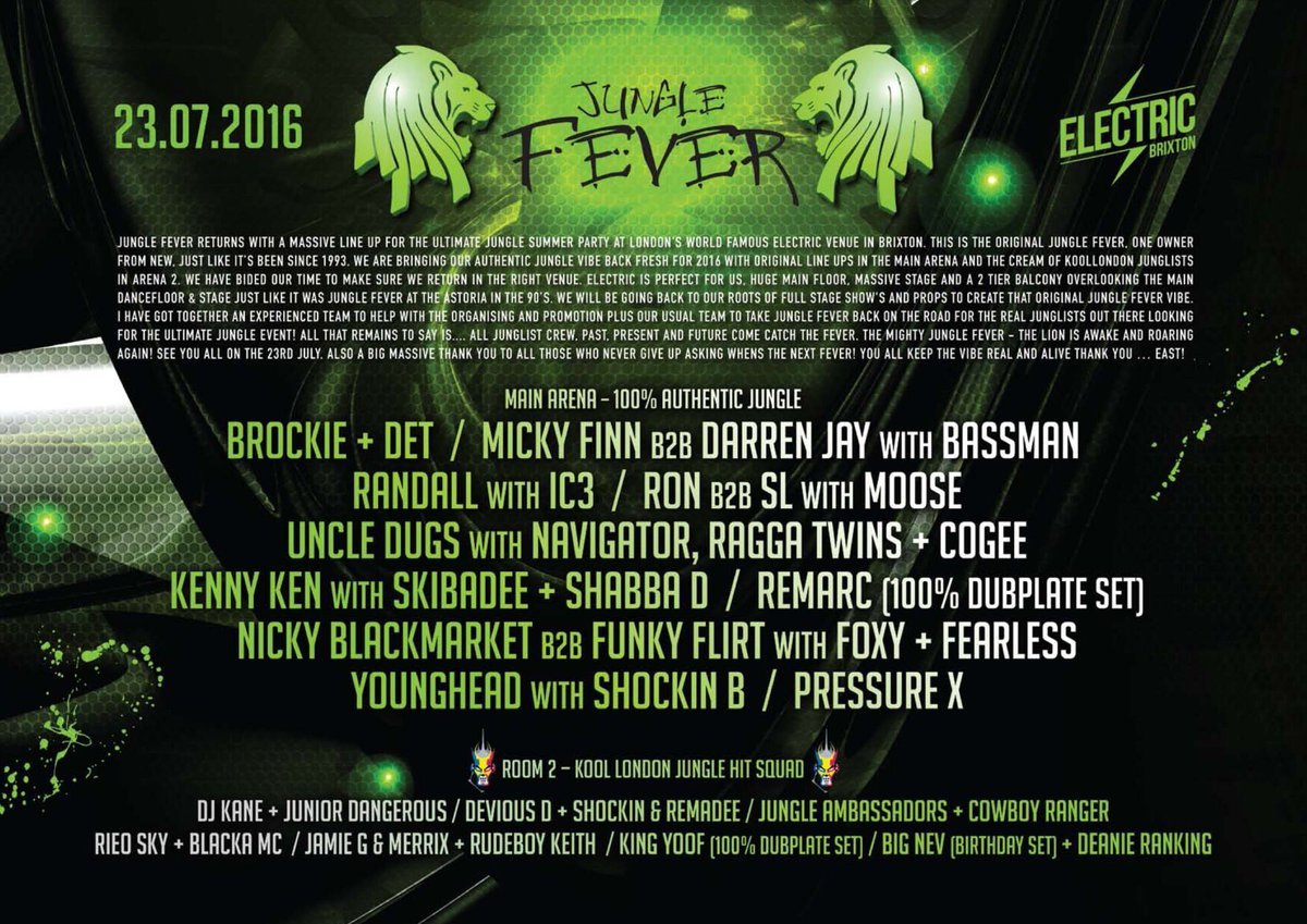 PLEASE RETWEET. The Jungle Fever Line Up Has Been Announced! https://t.co/HsnBqttY1N