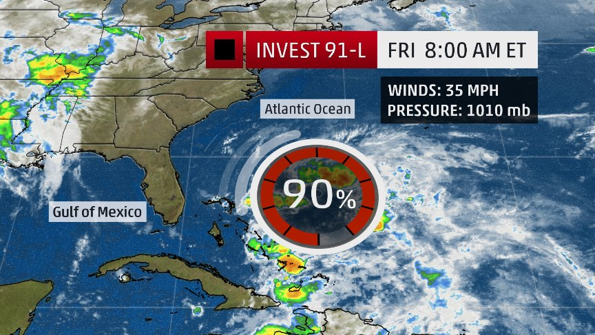 BREAKING: @NHC_Atlantic giving this system 90% chance of developing now. The latest on @amhq @weatherchannel https://t.co/n80Q2SCH7j