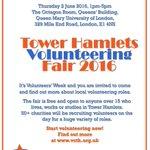 Tower Hamlets Volunteering Fair taking place on Thursday, 2 June   @qmsuvolunteer @TowerHamletsNow @THCVS https://t.co/NcQn48OkW3