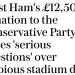 Boris & Cameron gave West Ham a taxpayer built & funded stadium. Now WH donate to Tory Party https://t.co/5Ic1Luqok6 https://t.co/gG4m8qx25Y