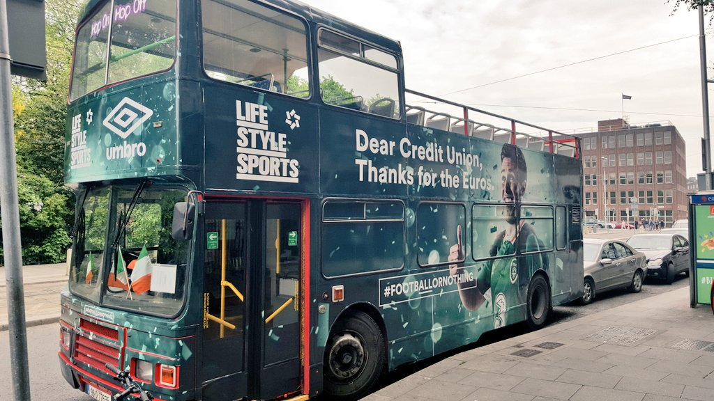 There it is, the Ultimate Fan Experience Open Top Bus. Soon we'll load up and head to the Aviva. #FootbALLorNothing https://t.co/xFNFsXUb4s
