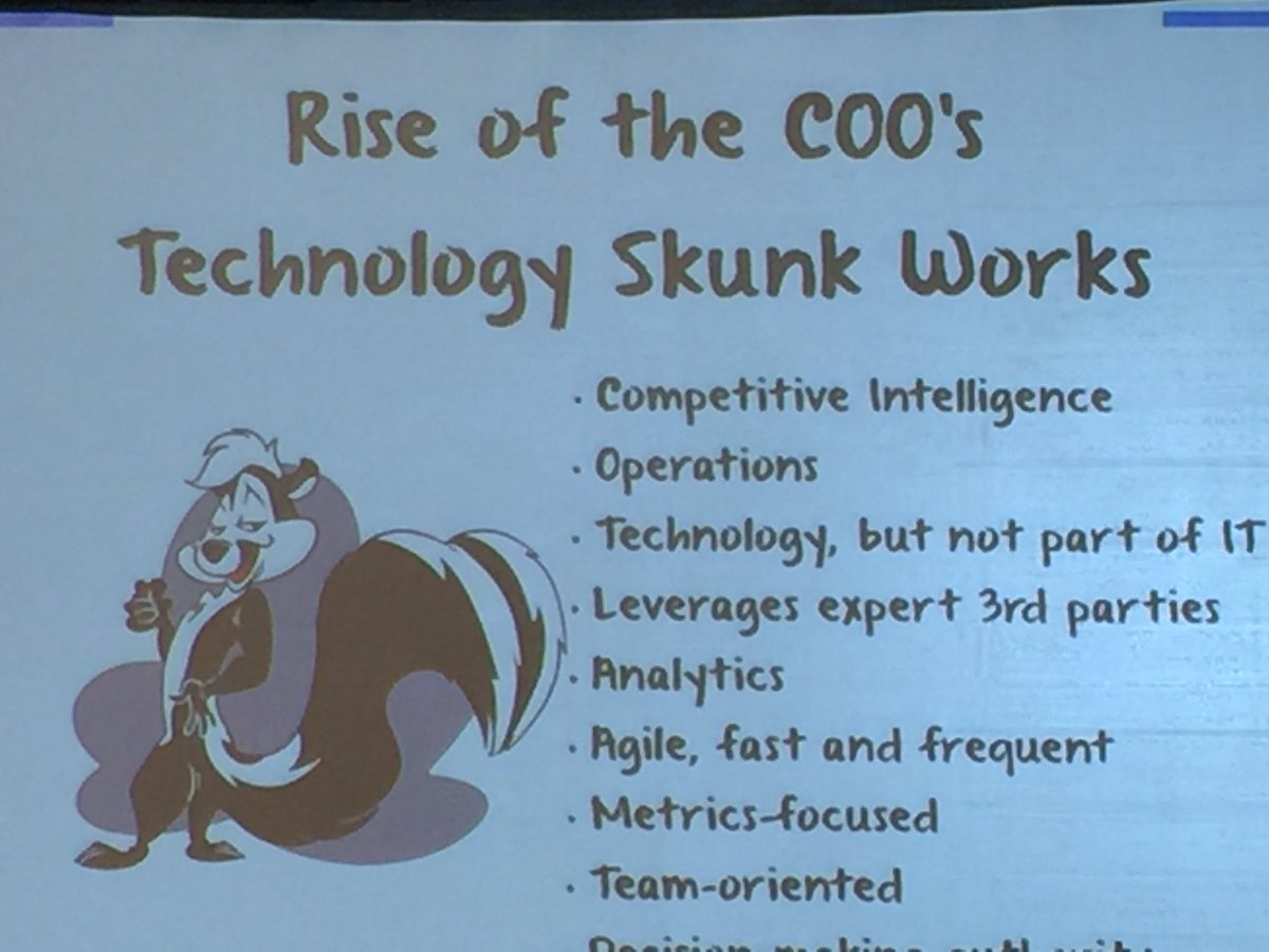"Tony Filippone, Axis-Capital, discussing the new ""technology skunkworks"" model... for the COO! #hfssummit https://t.co/KjMj25QOLh"
