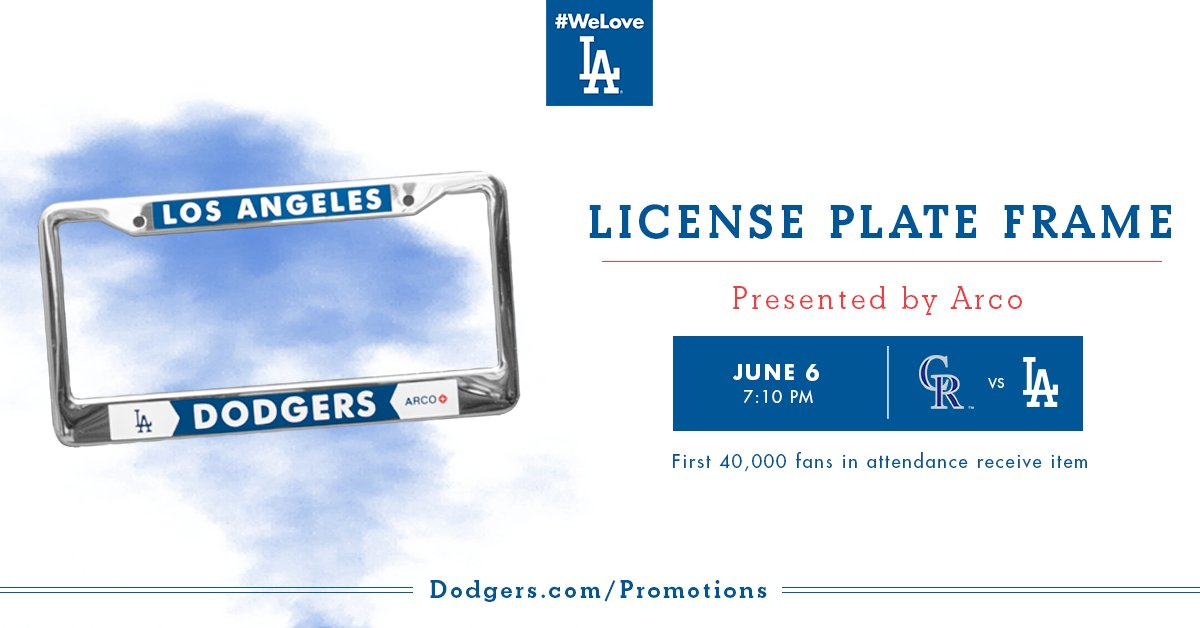 june 6 first 40000 fans get a dodgers license plate frame presented by arco scoopnestcom