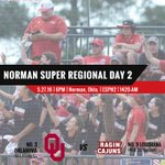 Trip to #OKC up for grabs. Cajuns and Sooners complete Norman Super Regional today. #GeauxCajuns #D1Softball https://t.co/mTFNUmlYcc