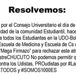 Para #UdistasBolívar Comunicado Oficial Movimiento Estudiantil PROudistas #NoAlSemestreCHUCUTO #UdistasUNIDOS (3/3) https://t.co/xlRUE8dHqw