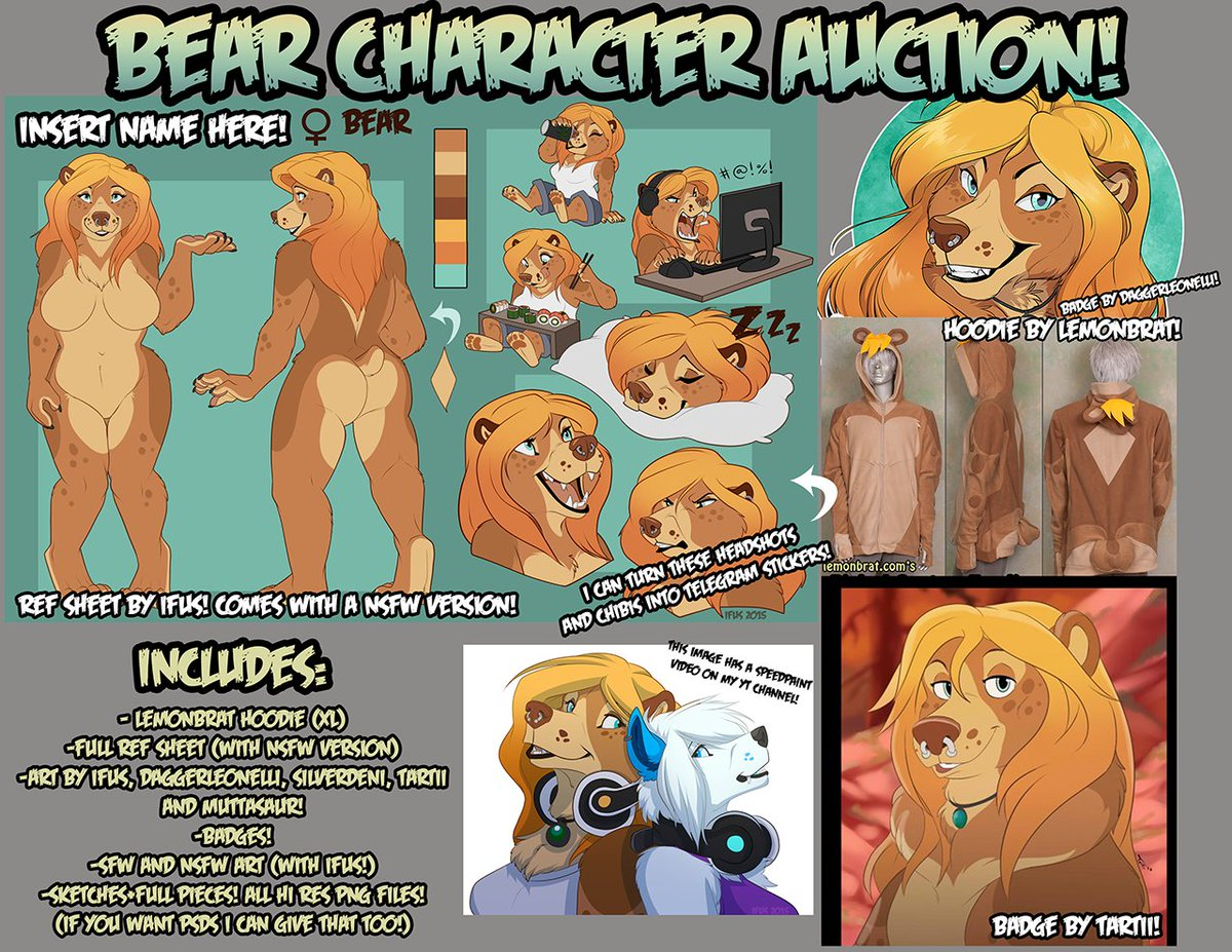 Selling a bear character design! Comes with a lot of art and a @lemonbrat hoodie! https://t.co/3alZVEe112 RT please! https://t.co/erqN5J75ne