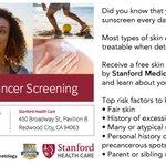 Free screening for #skincancer by Stanford dermatologists: Sat. June 4, 8:00am-11:30am https://t.co/izFyNLbVGV https://t.co/6ss8Yv3SPJ