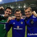 Fermanaghs Kyle Lafferty, Michael McGovern, Roy Carroll celebrations Windsor. #Euros2016 #GAWA #Franceherewecome. https://t.co/NB5dVAgbtQ